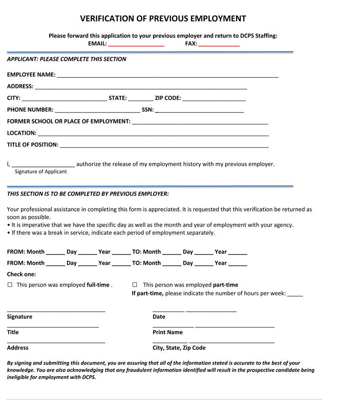 Employment Verification Request form 5 Employment Verification form Templates to Hire Best Employee