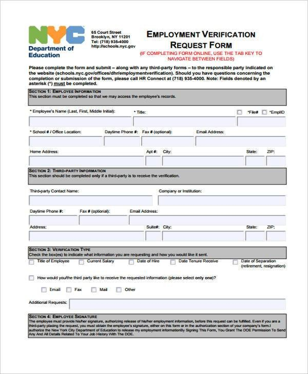 Employment Verification Request form Employment form Templates