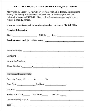 Employment Verification Request form Sample Employment Request form 9 Examples In Pdf