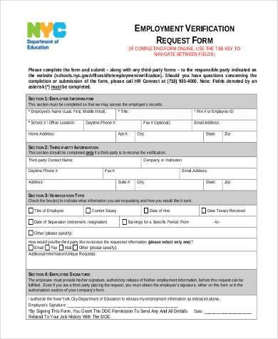Employment Verification Request form Sample Employment Verification Request forms 9 Free