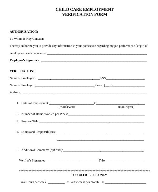 Employment Verification Request form Sample Verification Of Employment form 10 Examples In