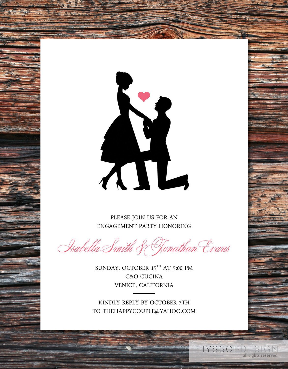 Engagement Party Invitation Templates Printable Diy Sweet Silhouette Proposal by Hyssopdesign On