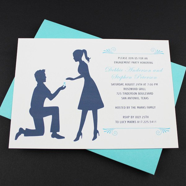 Engagement Party Invitations Templates Engagement Party Invitation Template Silhouette Couple