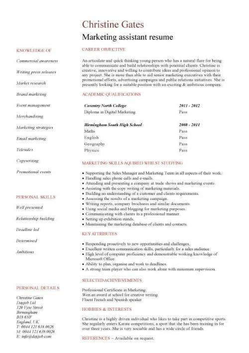 Entry Level Marketing Resume Student Entry Level Marketing assistant Resume Template