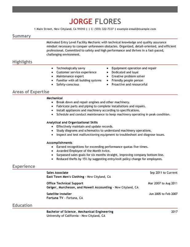 Entry Level Resume Templates Unfor Table Entry Level Mechanic Resume Examples to