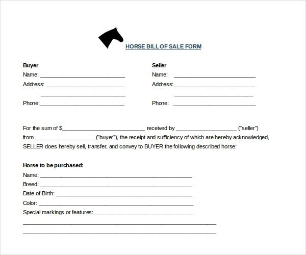 Sample Horse Bill of Sale Forms 7 Free Documents in PDF