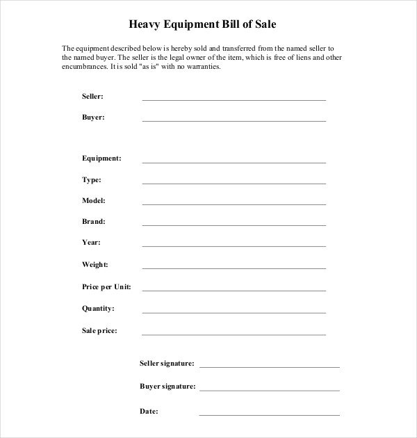 Equipment Bill Of Sale Template 7 Sample Equipment Bill Of Sale forms