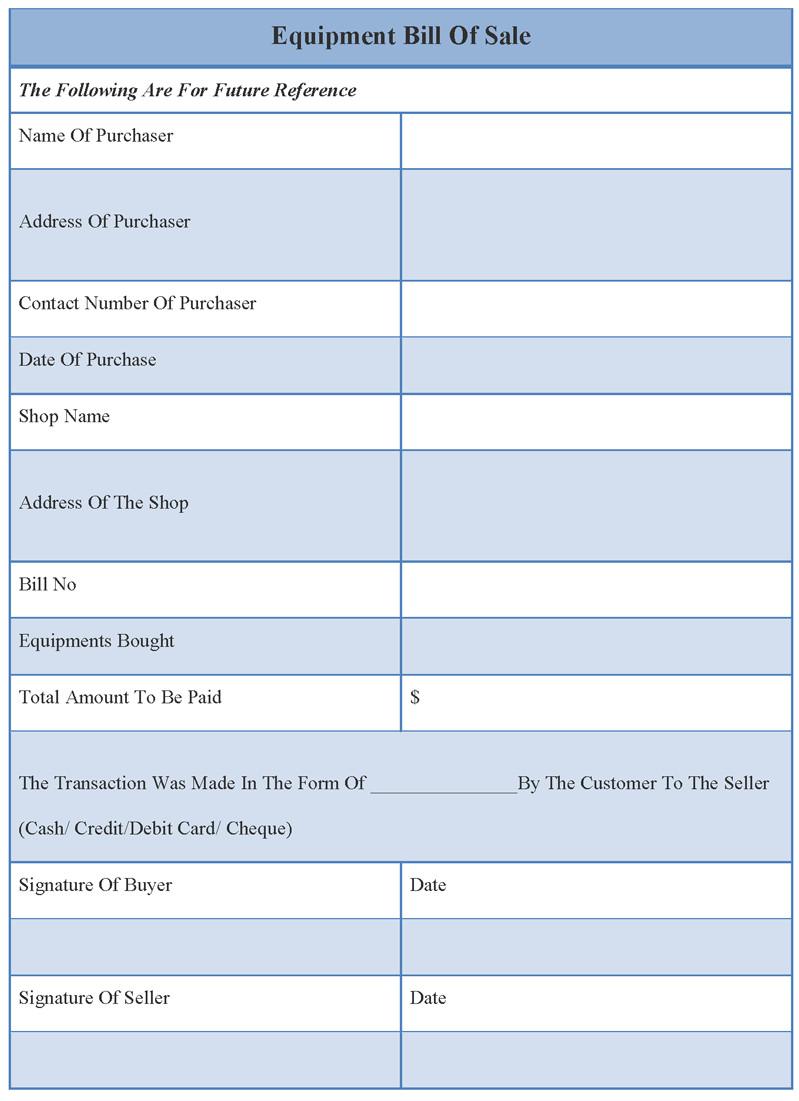 Equipment Bill Of Sale Template Bill Of Sale Template for Equipment Example Of Equipment