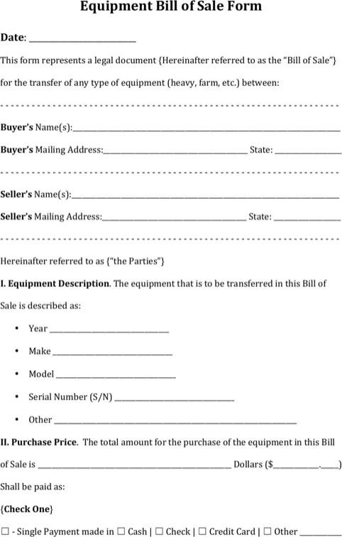 Equipment Bill Of Sale Template Download Equipment Bill Of Sale form for Free formtemplate