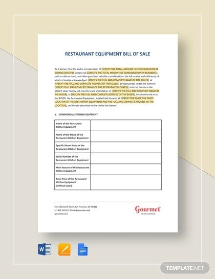 Equipment Bill Of Sale Template Equipment Bill Of Sale 7 Free Word Excel Pdf format