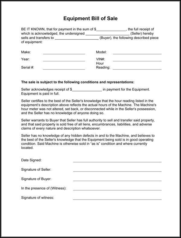 Equipment Bill Of Sale Template Equipment Bill Sale form
