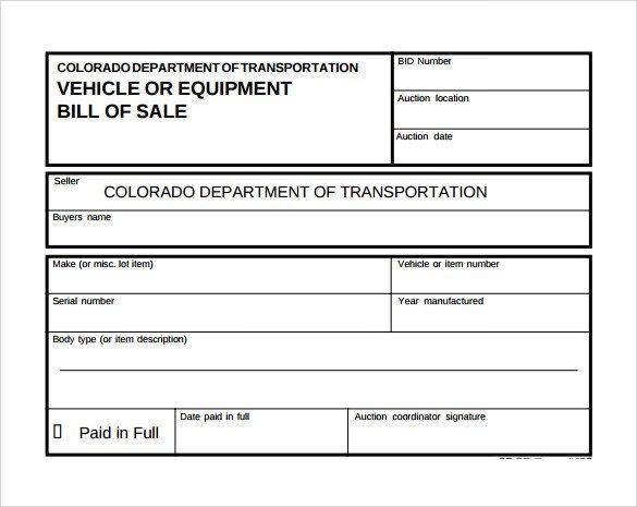 Equipment Bill Of Sale Template Sample Equipment Bill Of Sale Template 6 Free Document