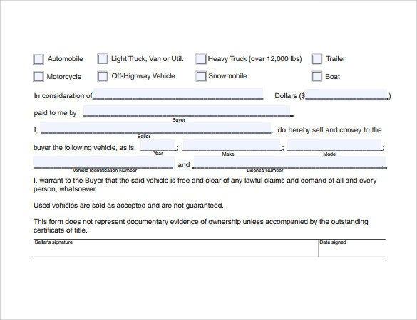 Equipment Bill Of Sale Template Sample Equipment Bill Of Sale Template 8 Free Documents