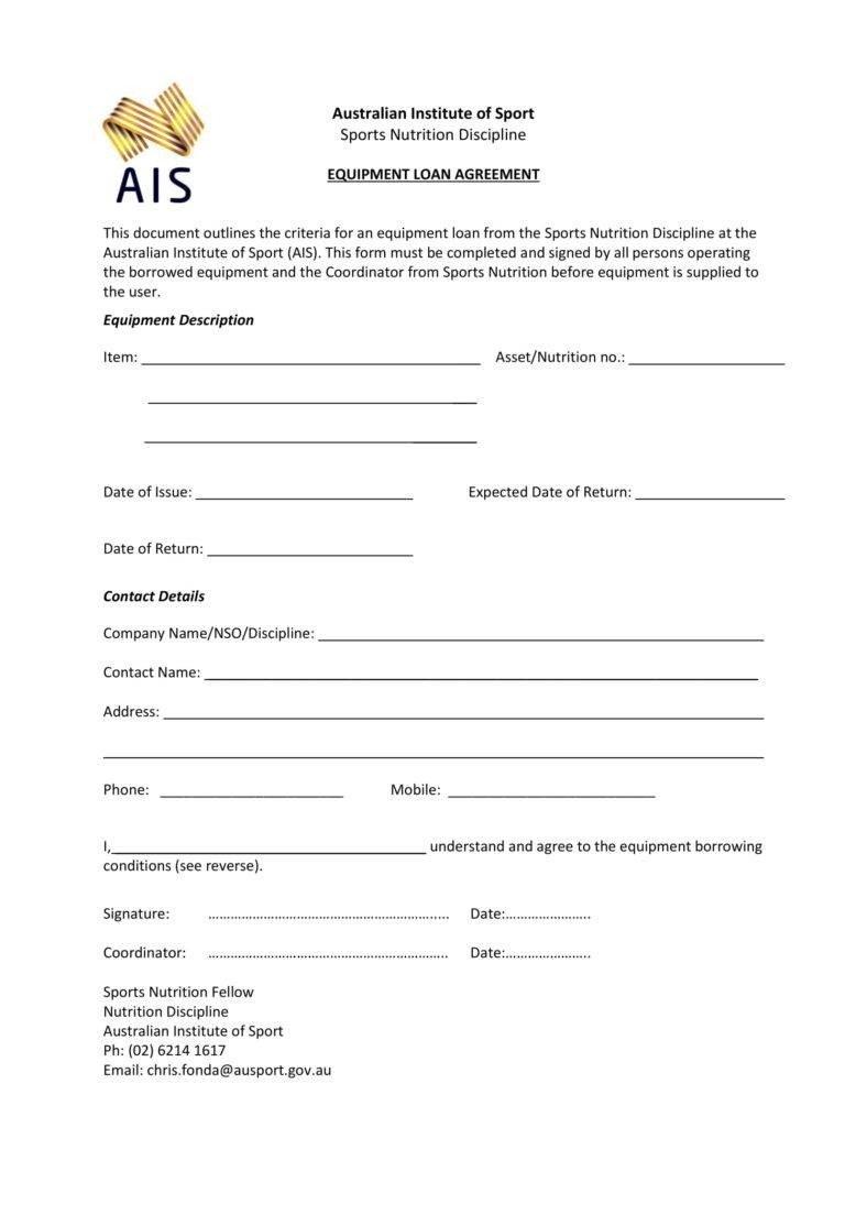 Equipment Loan Agreement Template 6 Equipment Loan Agreement Templates Pdf Word