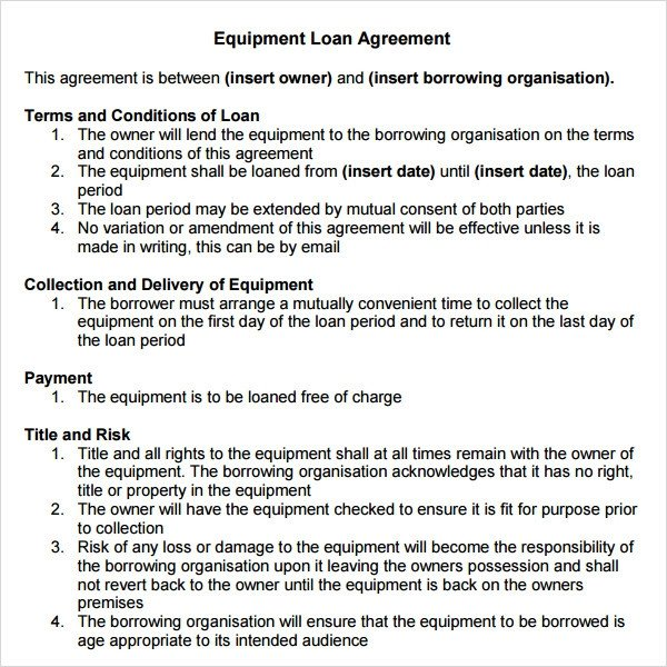 Equipment Loan Agreement Template Loan Agreement 14 Download Documents In Pdf Word