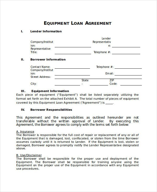 Loan Agreement Template 18 Free Word PDF Document