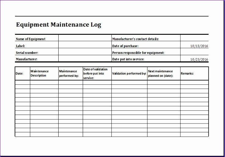 Equipment Maintenance Log Template Excel 11 Equipment Maintenance Log Exceltemplates Exceltemplates