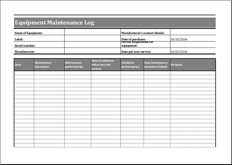 Equipment Maintenance Log Template Excel Equipment Maintenance Log Template