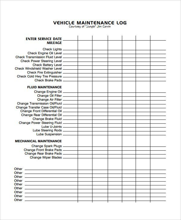 Equipment Maintenance Log Template Excel Image Result for Excel Vehicle Maintenance Log