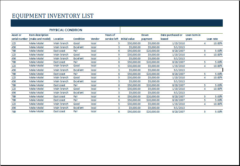 Equipment Maintenance Log Template Excel Ms Excel Equipment Inventory List Template