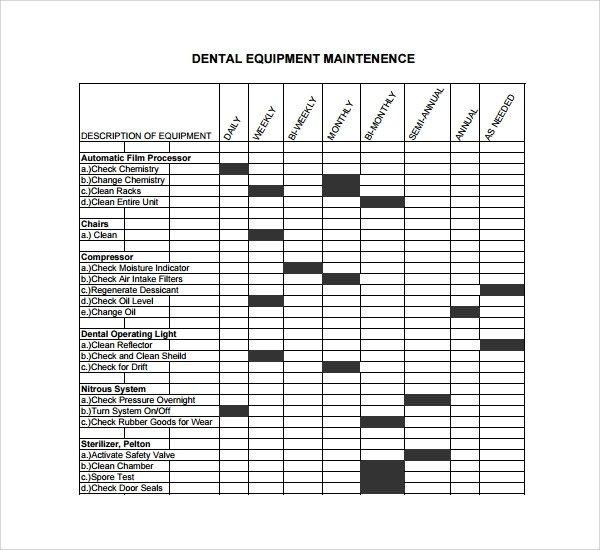 Equipment Maintenance Log Template Excel Sample Maintenance Log Template 9 Free Documents In Pdf