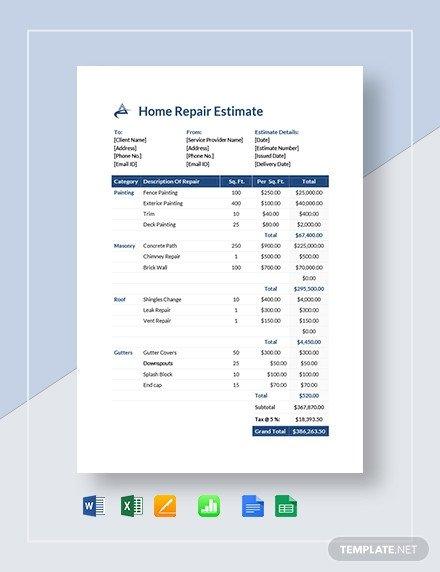 Motorcycle Repair Estimate Template in Microsoft Word