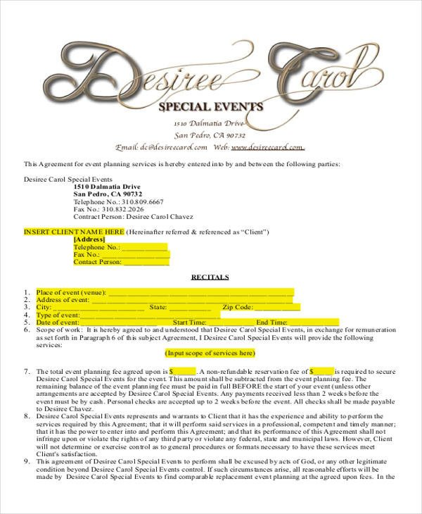 Event Planner Contract Sample 14 Examples in Word PDF