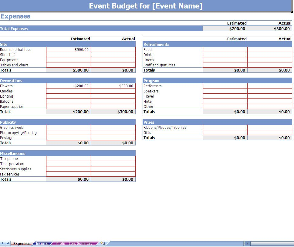 Event Planning Template Excel event Bud Spreadsheet event Bud Ing