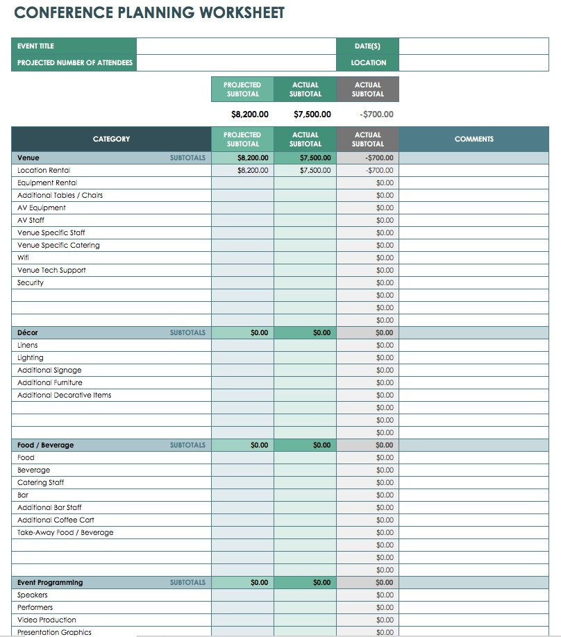 Event Planning Template Excel Free event Bud Templates Smartsheet