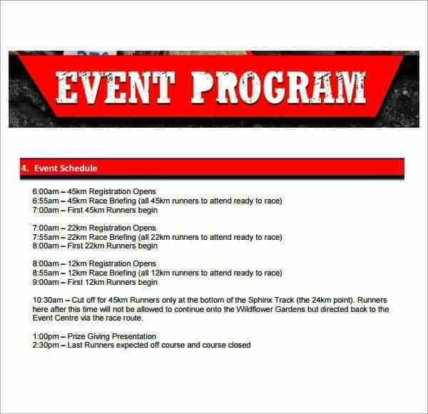 Event Program Template Word 10 event Program Templates Word Excel Pdf formats