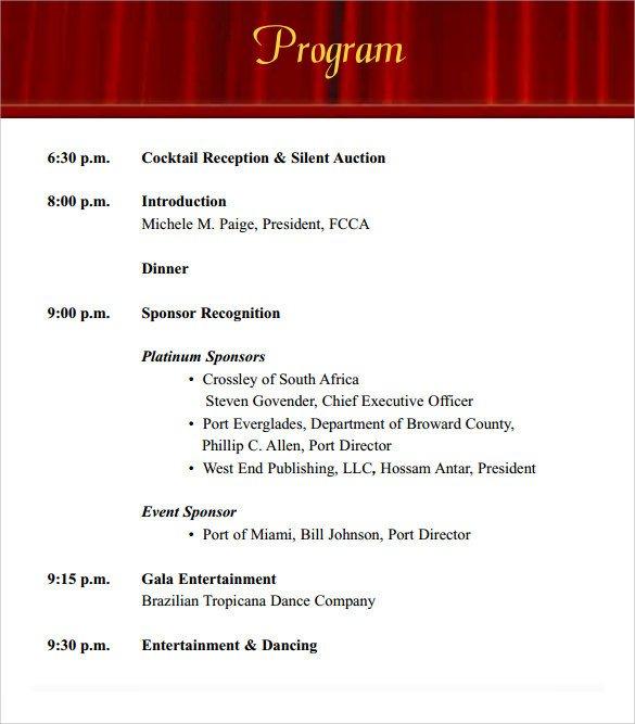 Event Program Template Word 38 event Program Templates Pdf Doc