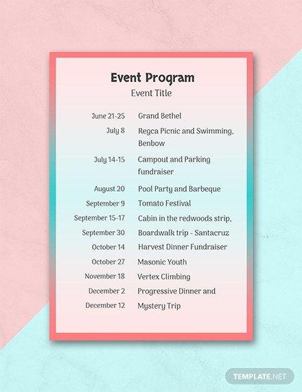 Event Program Template Word Free event Program Template Download 31 Program