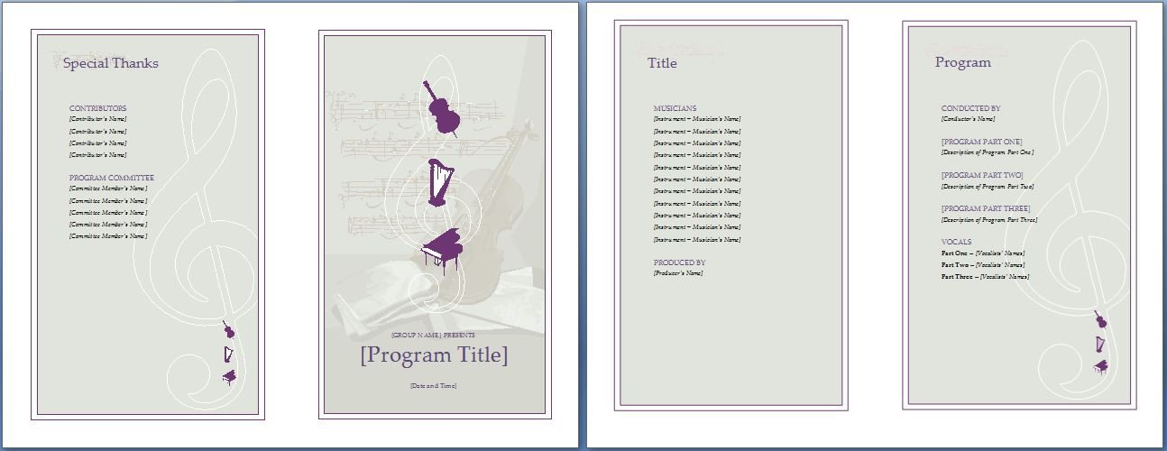 Event Program Template Word Music event Program Invitation Template