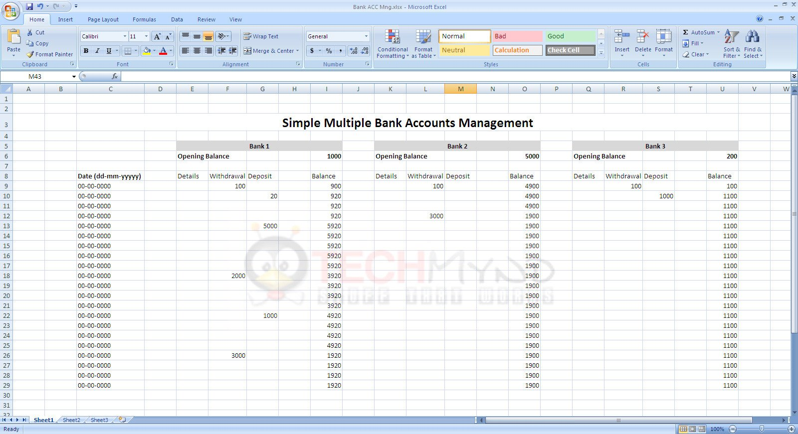 Manage Bank Accounts Using Simple Excel Sheet Freebies
