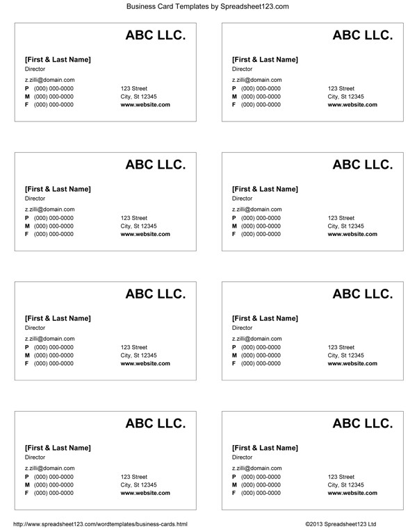 Excel Business Card Template Business Card Templates for Word