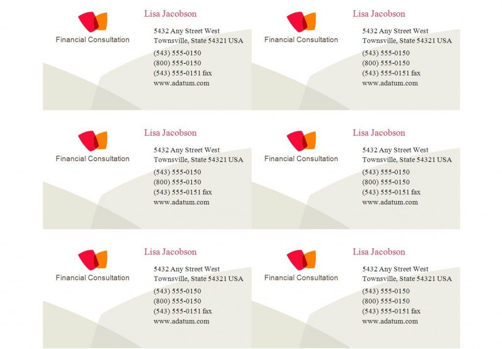 Excel Business Card Template Patible with Avery Business Card Template 8371