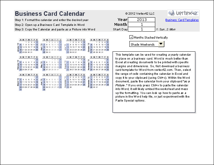 Excel Business Card Template Print A Yearly Calendar On A Business Card