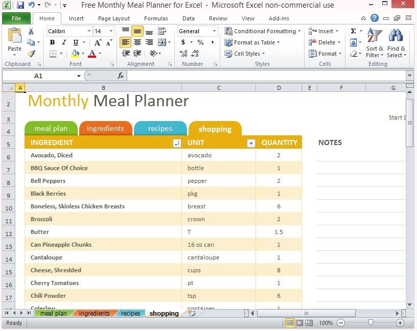 Excel Daily Planner Template Free Monthly Meal Planner for Excel