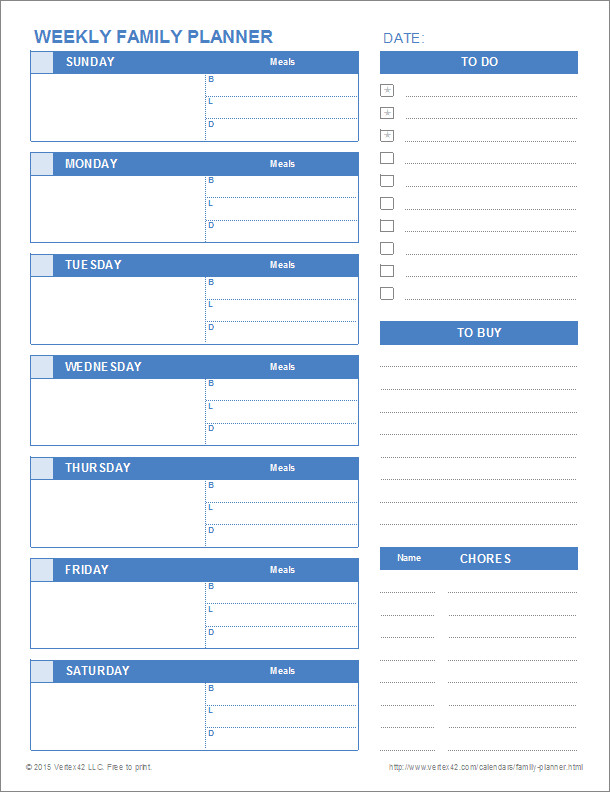 Excel Daily Planner Template Printable Family Planner Templates for Excel