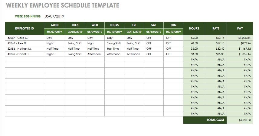 Excel Employee Schedule Template 17 Free Timesheet and Time Card Templates