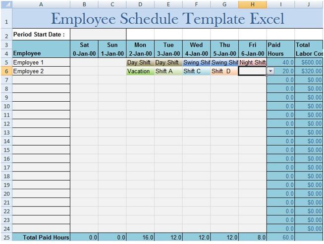 Excel Employee Schedule Template Download Employee Schedule Template Excel