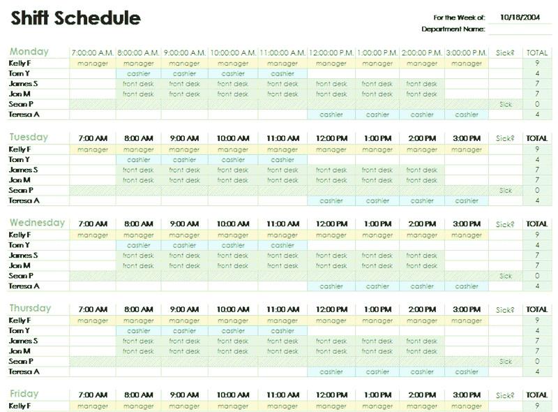 Excel Employee Schedule Template Download Employee Shift Schedule Template for Excel for
