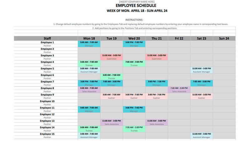 Excel Employee Schedule Template Employee Schedule Template In Excel and Word format