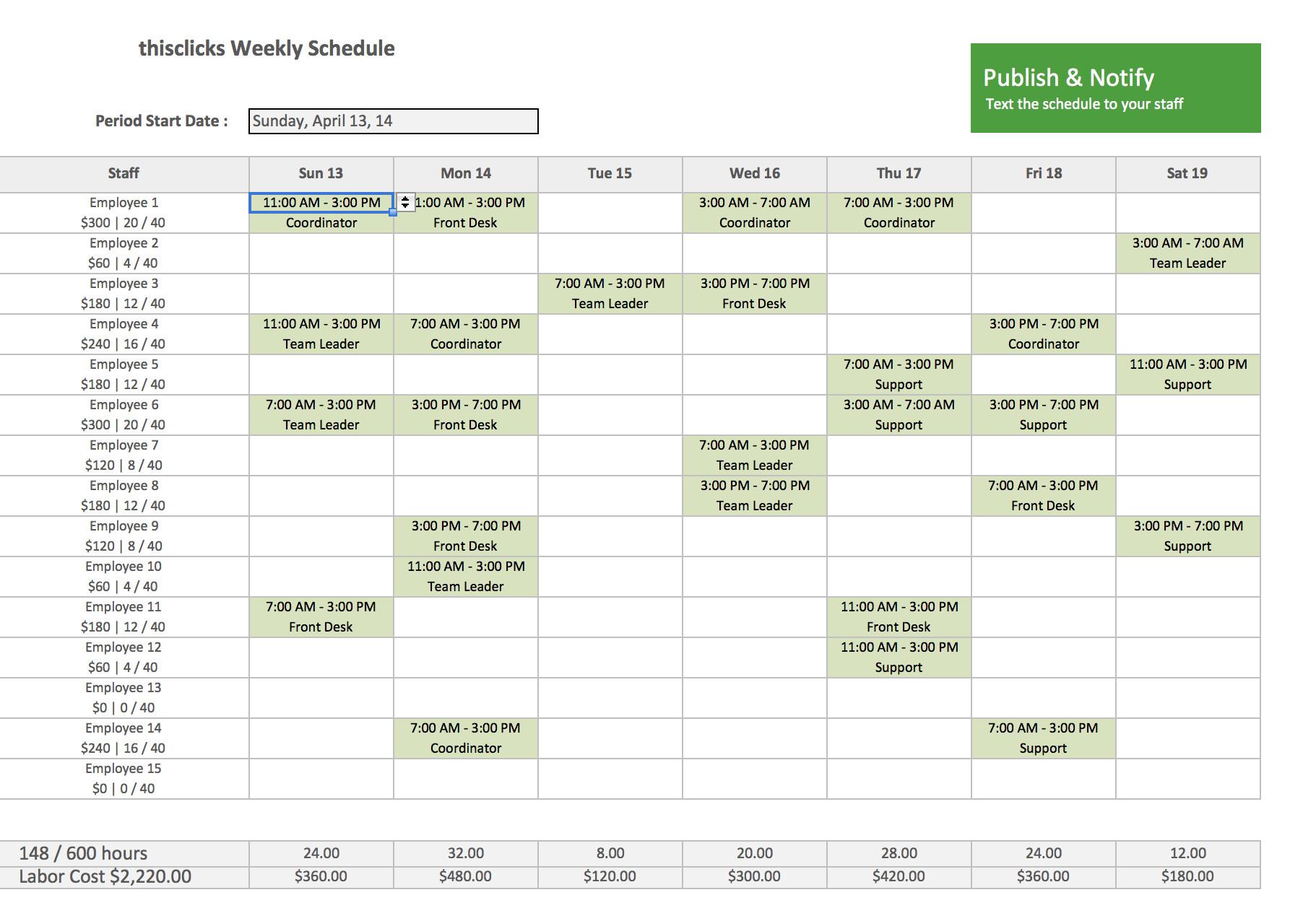Excel Employee Schedule Template Free Excel Template for Employee Scheduling