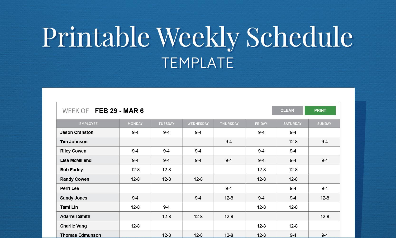 Excel Employee Schedule Template Free Printable Work Schedule Template for Employee