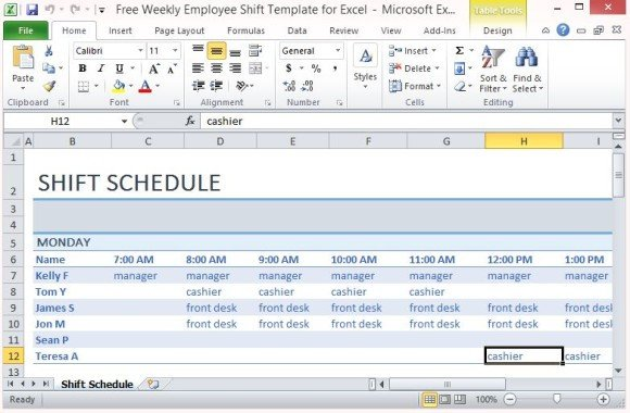 Excel Employee Schedule Template Free Weekly Employee Shift Template for Excel