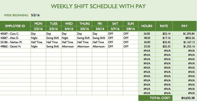Excel Employee Schedule Template Free Work Schedule Templates for Word and Excel Smartsheet