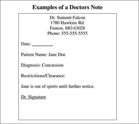 Excuse Notes for School 9 Doctor Note Templates Word Excel Pdf formats