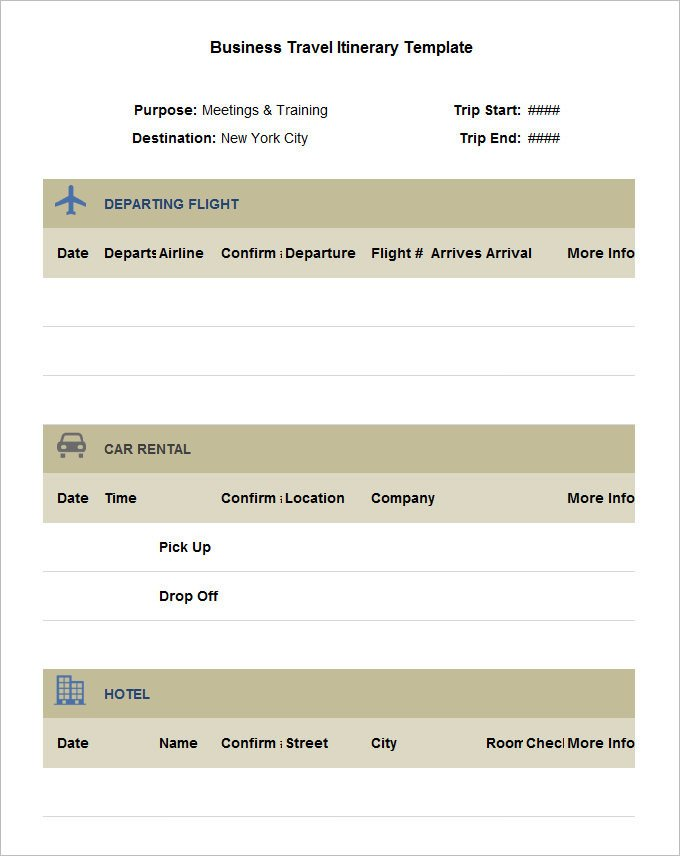 Executive assistant Travel Itinerary Template 13 Business Travel Itinerary Template Word Excle Pdf