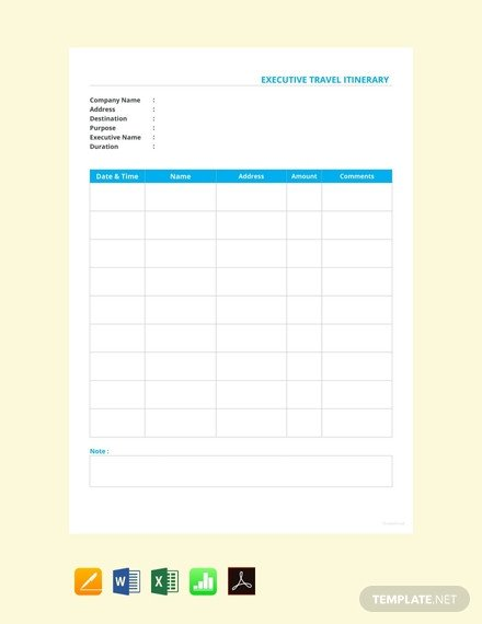 Executive assistant Travel Itinerary Template 22 Free Itinerary Templates [download Ready Made Samples